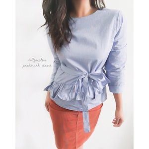 NWT Anthro Maeve Ruffle Blue Small Checkered Top
